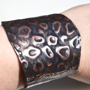 Leopard Zebra Soiid Copper Cuff Bracelet Handmade